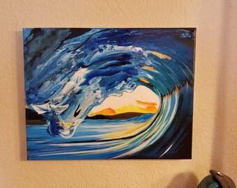 14x11 Sunrise/Sunset Surf Painting