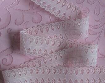 "5 yards Semi Sheer Pink Lace Ribbon Trim 1 1/2"" wide Pretty Unusual (sold BTY)"