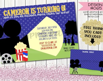 Outdoor Movie Night Drive In:Design #065-Children's Birthday Party Digital Invitation File 4x6 or 5x7 Free Thank You Card with Purchase
