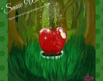 "Snow White art print, ""Snow White"" -- photographic print of original digital artwork, 8x8 inch print, signed art, fairy tale art"