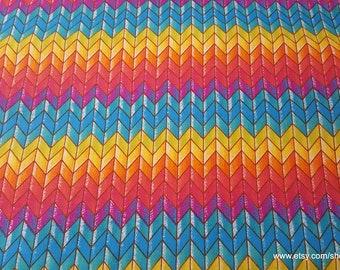 Flannel Fabric - Rainbow Chevron - By the yard - 100% Cotton Flannel