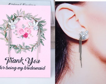 Bridesmaid Earrings Art Deco Cubic Zirconia Tassel Earrings Bridesmaid Jewelry Bridesmaid Gifts