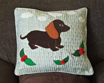 """Dog pillow, cushion cover, handmade, applique """"Cute Little Dachshund"""", sausage dog"""