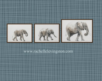 Elephant nursery art PRINT nursery art Elephant watercolor painting african wall hanging african playroom boy room decor toddler PRINT SET