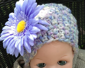 Handmade crochet- newborn to one year - warm unisex hat light lilac and creme colors, Photo prop, Baby shower, Baby gift.