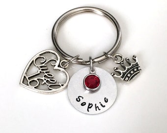 Keychain with Sweet 16  and crown charm  and Circle with birthstone charms