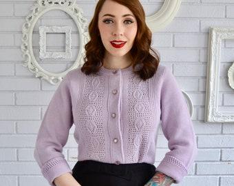 Vintage Light Purple Acrylic Knit Cardigan by Billie Jo Size Small