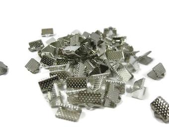 Rhodium Silver Toned Iron Ribbon Crimps 10 mm
