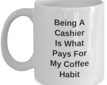 Funny Cashier Mug - Novelty Teller, Bank Clerk, Coffee Cup - Unique Fun Christmas Gift