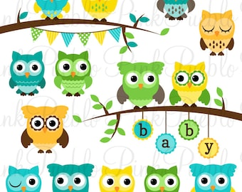 Gender Neutral Baby Shower Owl Clipart Clip Art, Boy Girl Baby Shower Owl Bird Clipart Clip Art Vectors - Commercial and Personal