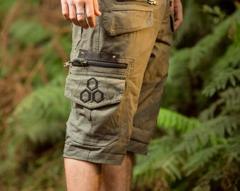 Touching Sounds Shorts (Olive Green) - Festival Clothing Men Loose Shorts Goa Stylish Boho Psytrance Thick Fabric Party Comfortable Bohemian