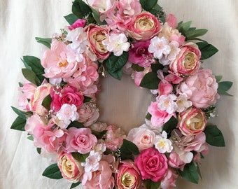 Front Door Wreaths - Spring Wreath - Spring Front Door Wreaths - Spring Wreaths - Summer Door Wreath - Pink Wreaths - Wreaths for Front Door
