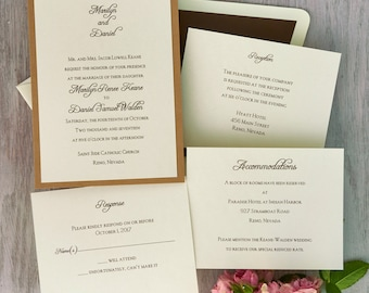 Abbey 2 Layer Wedding Invitation Suite- Layered, Names featured, ecru,brown,backer,raised ink - AV6036