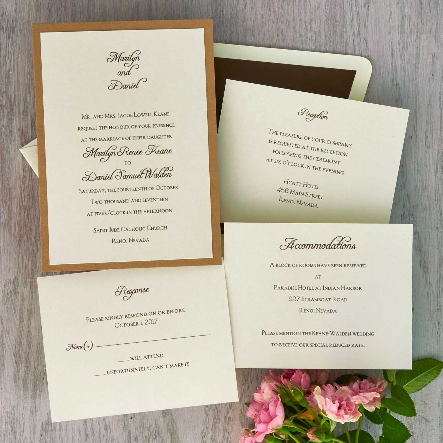 Abbey 2 Layer Wedding Invitation Suite Layered Names