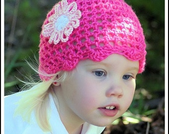 Spring Hat with Daisy Flower Clip Custom Boutique Crochet