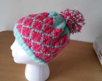 Mint and Coral Diamond Hat