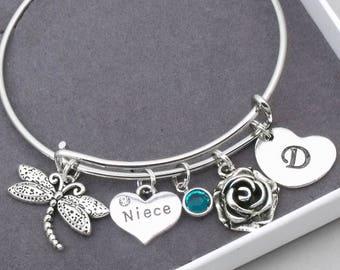 Niece crystal heart bracelet | niece jewellery | personalised niece bracelet | gift for niece | birthstone