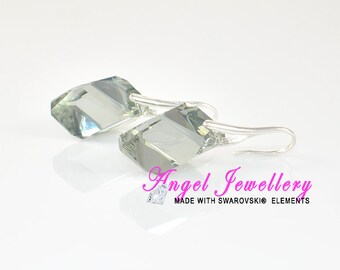 New Sterling Silver Earrings With Svarovski Black Diamond Crystal Fashion Jewellery Gift For Her
