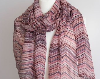 "vintage long scarf, striped scarf, rectangle scarf, polyester scarf, fabric women scarf shawl 50x172cm / 20x67"" chevron scarf purple pink"