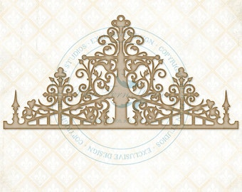 Blue Fern Studios Laser Cut Chipboard French Ironwork  4 Inches Tall x 8 Inches Wide