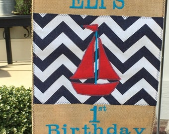 Custom Birthday or Baby Announcement Burlap Garden Flag