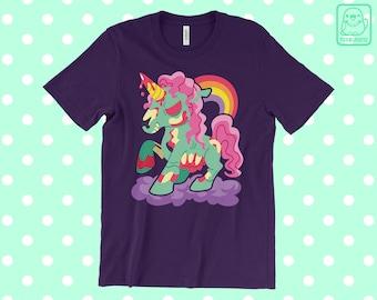 Zombie Unicorn T-SHIRT // Cute Halloween Tee // Zombicorn // Pony // Magical Rainbow // Zombies Undead Skeleton //