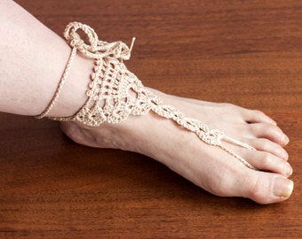 Beige Barefoot Sandals, Crochet  Nude shoes, Beach wedding Foot jewelry, Victorian Lace, Women fashion accessory, Gift for her Loveknittings