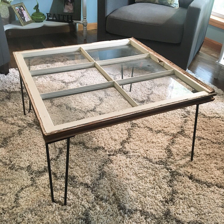 Rustic Window Hairpin Leg Coffee Table