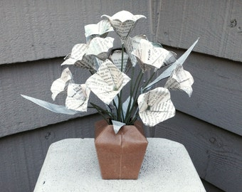 Origami flowers etsy origami flowers book page paper floral arrangement rustic florigami mightylinksfo
