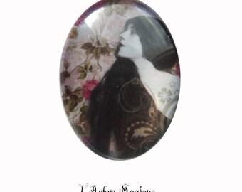 Antique 1900 Ref229 style cabochon woman face