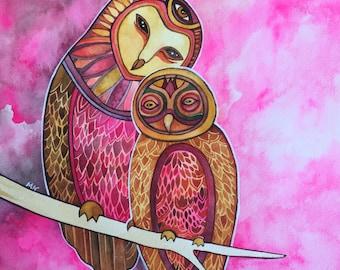True Love Owl Print by Megan Noel