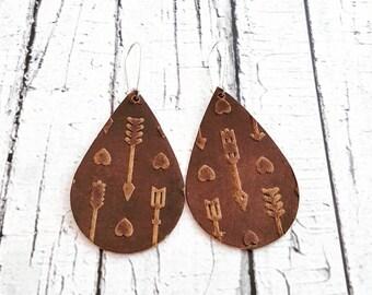 Leather Earrings, Lightweight Leather, Teardrop Earrings, Textured Earrings, Arrow Earrings, Dangle Earrings, Drop Earrings