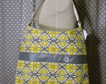 Gray and Yellow Women's Work Tote, Fabric Tote Bag, Travel Bag - Chelsea Bag