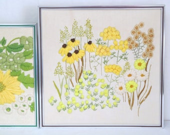 vintage crewel embroidery yellow wildflowers