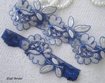 Blue Wedding Garter, Bridal Garter, Wedding Garter Set, Royal Blue Garter, Wedding Garter, Lace Garter Set, Handmade Garter, Blue Garter Set