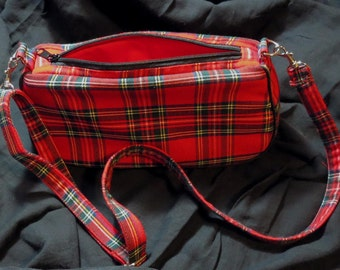 red tartan handbag with black piping detachable strap red plaid clutch bag UK seller