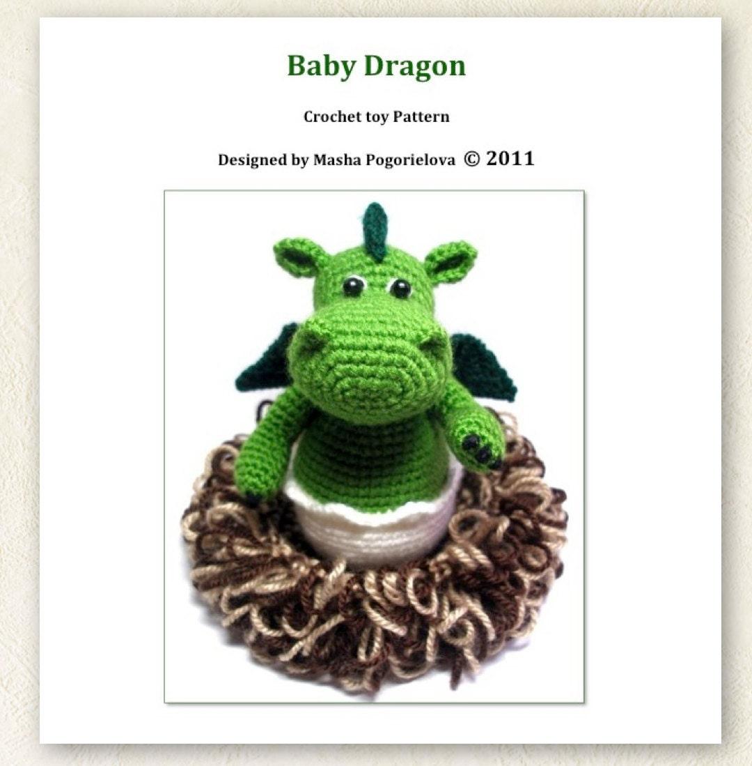 Baby Dragon in its Nest pdf crochet toy pattern amigurumi