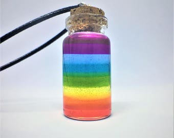 Captured Rainbow in a Bottle Resin Bottle Charm Glass Vial Necklace LGBT