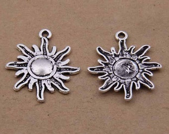 20pcs 28x25mm antique silver sun pendants Apollo pendant Y1764