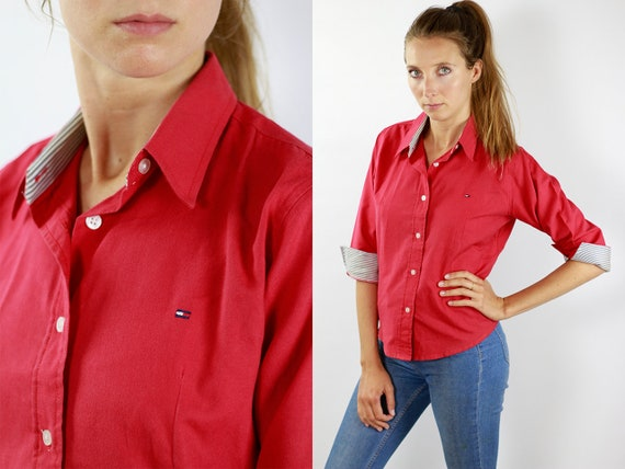 TOMMY HILFIGER Shirt Tommy Hilfiger Blouse Linen Shirt Women Linen Shirt Vintage Tommy Hilfiger Vintage Shirt Oxford Shirt Tommy Shirt