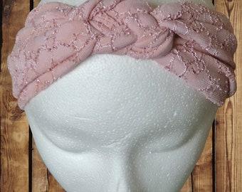 Women's Headband/Turban Premium Pattern Sailor Knot Mauve Lace