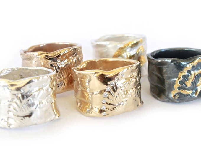 Wide Peacock Band Ring- Bronze, Silver or Gold