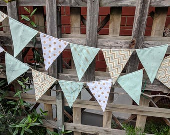 Bunting, flags, garland or banner - gold and white,  mint green modern bunting