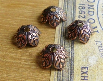 4 Leaf Bead Caps, Antique Copper, Vintage Look, 8mm, Great Quality, Lovely Detail