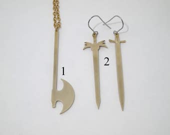 Ax Solid Brass Pendant Necklace and Sword Solid Brass Earrings