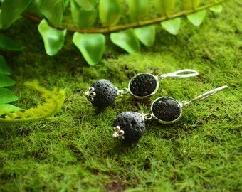 Dragon scale earrings Mermaid scale earring Dragon earrings Dark mori Lava stone earing Elven earing Druid jewelry Witch gift Silver earring