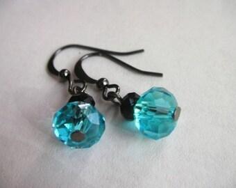 Simple Blue Crystal Earrings, Blue Earrings, Blue Dangle Earrings, Crystal Earrings