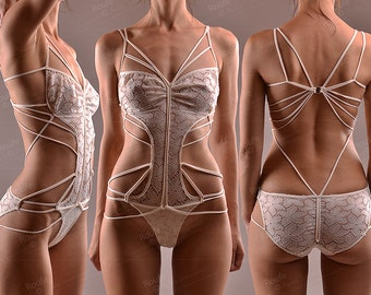 Geometric String Lace Body -  Sexy Lace Onesie - String Leotard - Designer Teddy - Bridal Onesie - Stretch Lace Bodysuit  - Floral Leotard