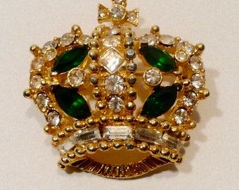 Vintage Bellini Crown Rhinestone Gold-Tone Brooch