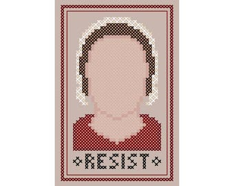 """Resist - Original Cross Stitch Chart   Inspired by Margaret Atwood / """"The Handmaid's Tale"""""""